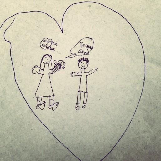 Nuestra familia dibujada por mi prima de 8 años